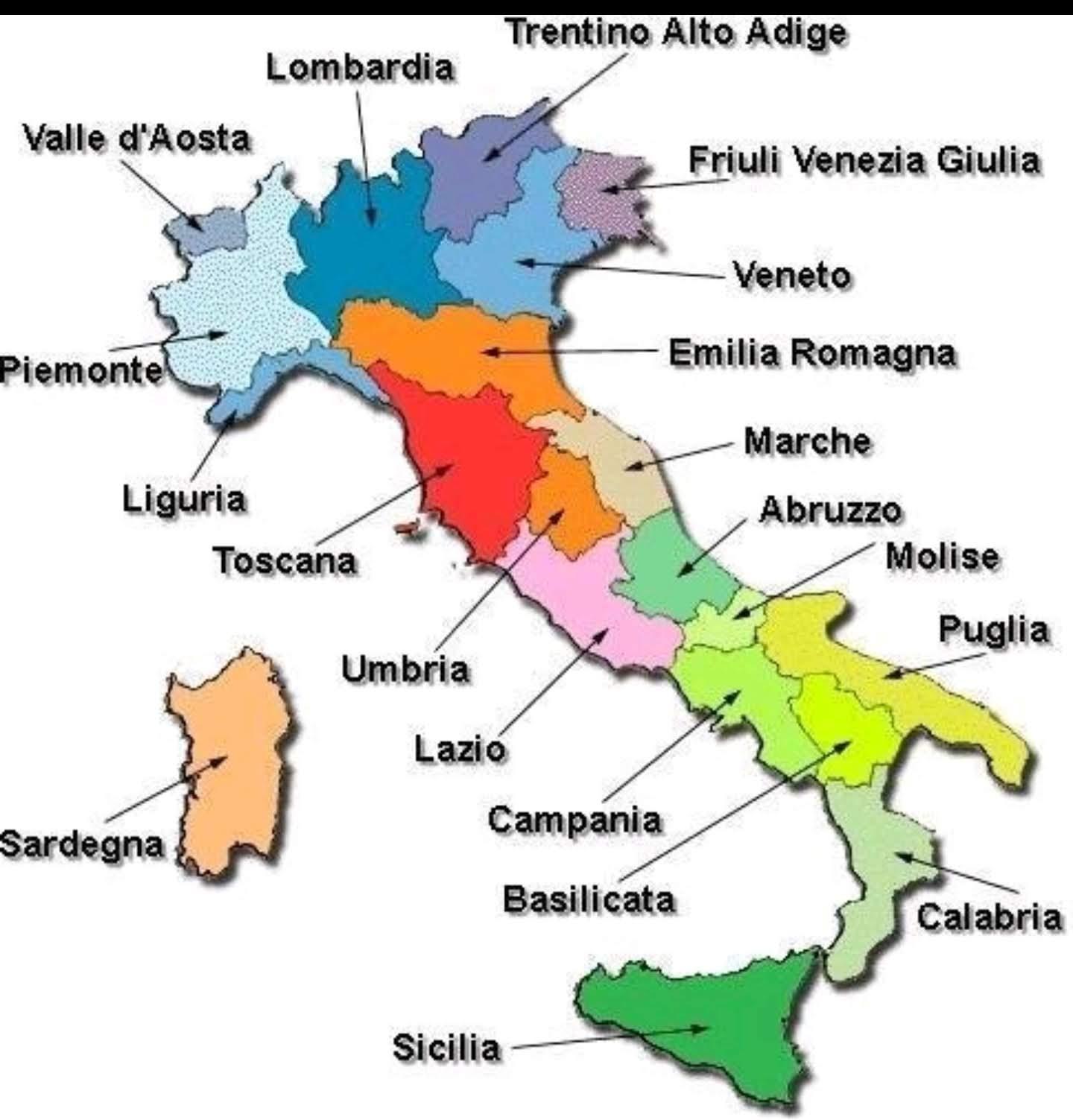Italian Alueilla Kartta Kaupungit Tulostettava Kartta Italian