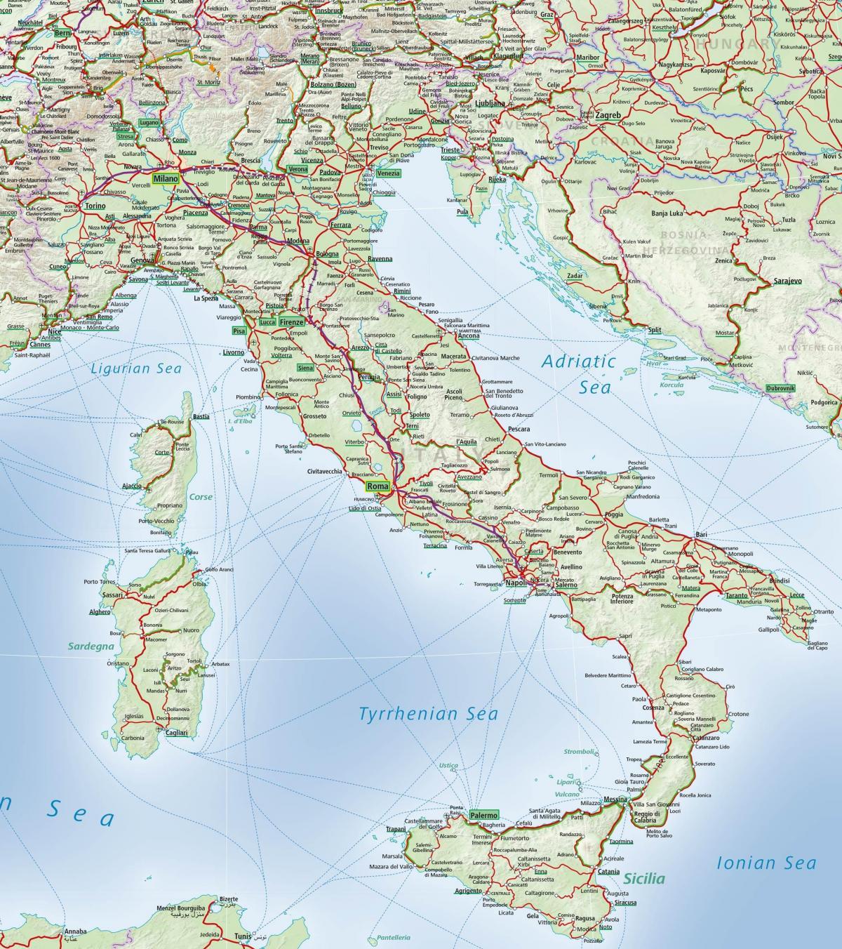 Italian Juna Kartta Italia Rail Jarjestelma Kartta Etela