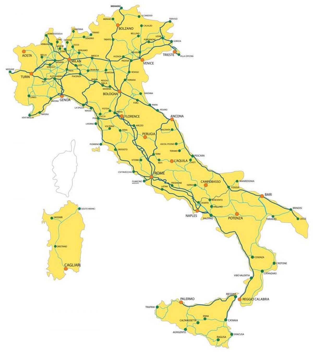 Italian Rataverkon Kartta Italia Rautatie Yksityiskohtaiset