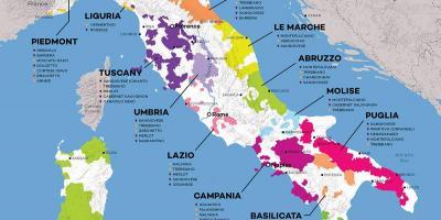 Italiassa Viini Alueiden Kartta Italia Viini Kartta Etela